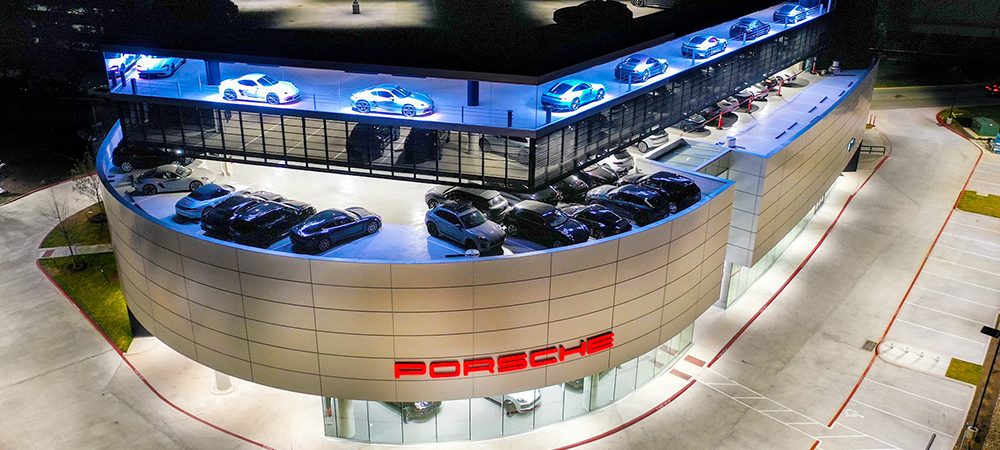 Top-tier branding with Elation SEVEN Battens at Porsche Dealership in Austin, TX